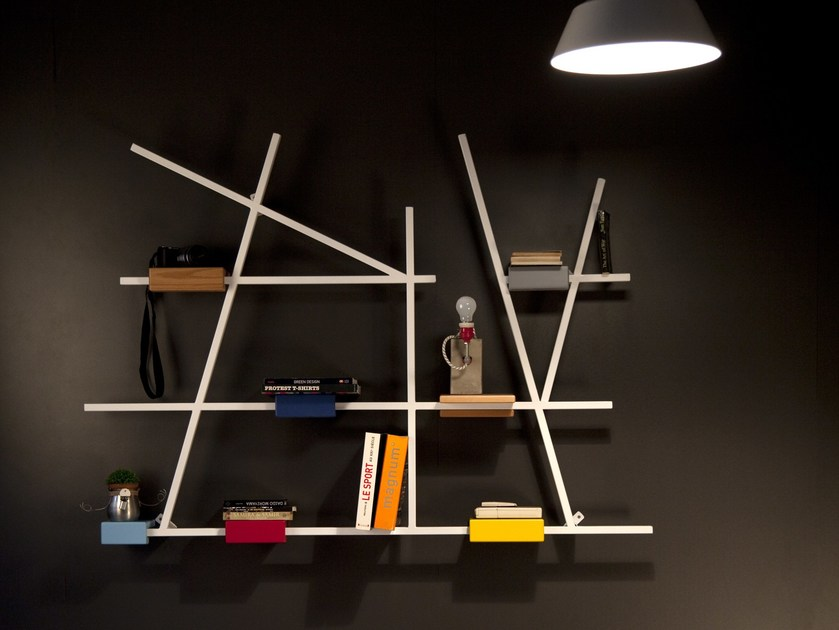 Design lacquered metal bookcase ETTA MEDIUM by Kann Design