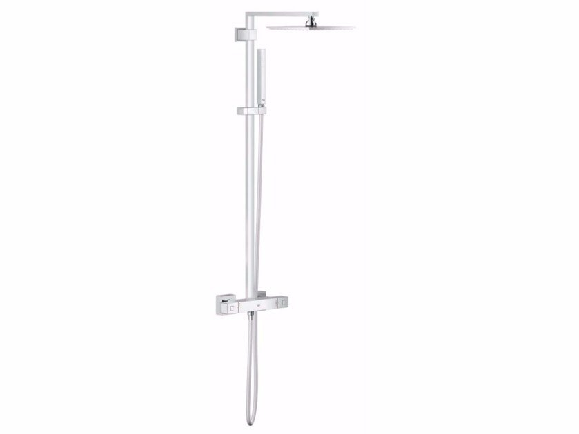Wall-mounted thermostatic shower panel with overhead shower EUPHORIA CUBE XXL SYSTEM 230 | Thermostatic shower panel - Grohe
