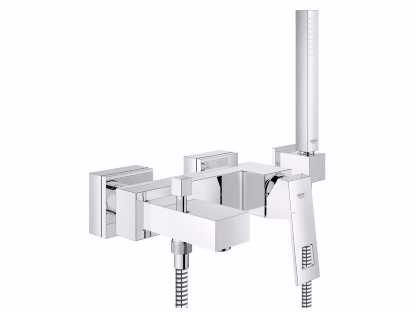 Wall-mounted bathtub mixer with hand shower EUROCUBE | Bathtub mixer with hand shower - Grohe