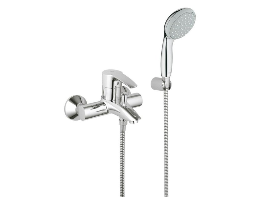 Wall-mounted single handle bathtub/shower mixer EUROSTYLE | Bathtub mixer with hand shower - Grohe