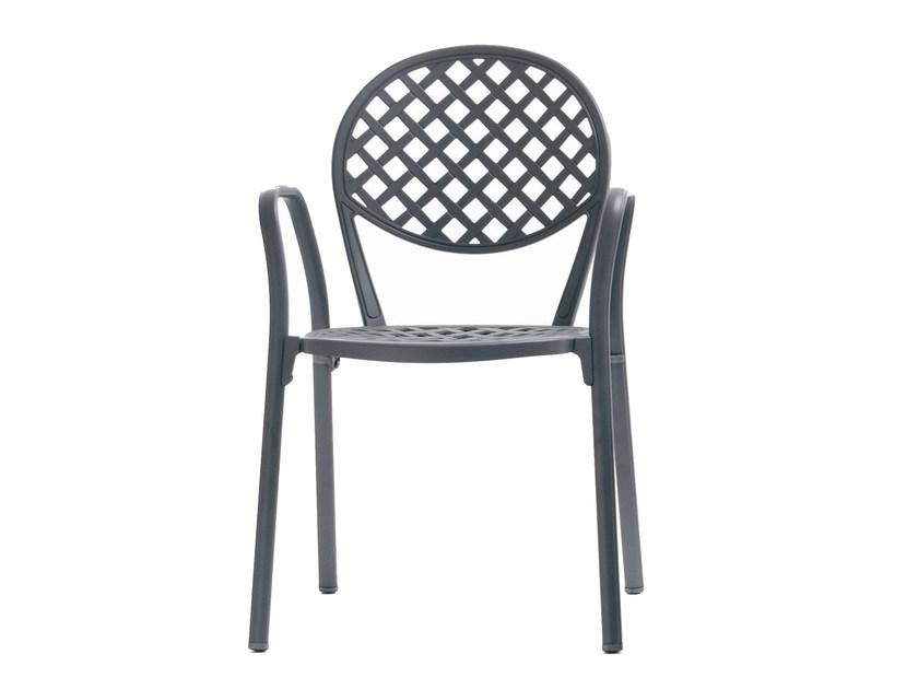 Stackable aluminium garden chair with armrests EUROPA - FAST