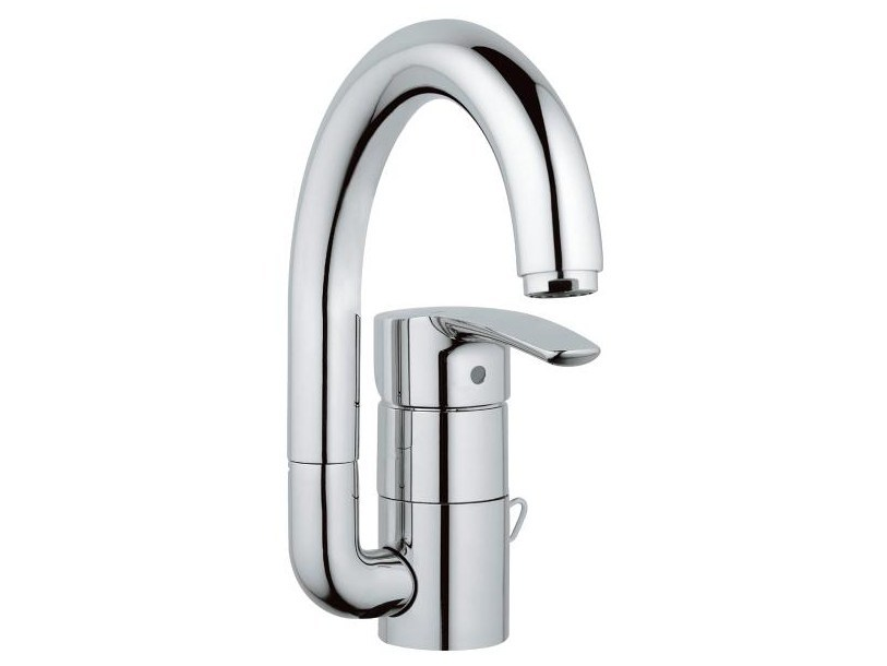 Countertop single handle washbasin mixer with adjustable spout EUROSTYLE | Washbasin mixer without waste by Grohe