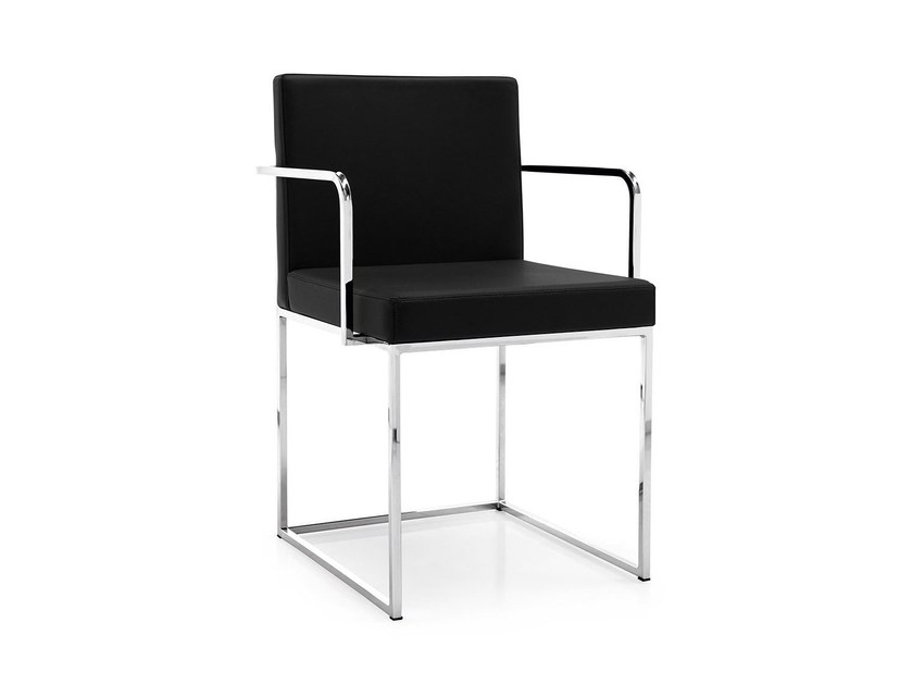 Upholstered leather chair with armrests EVEN PLUS | Chair with armrests - Calligaris