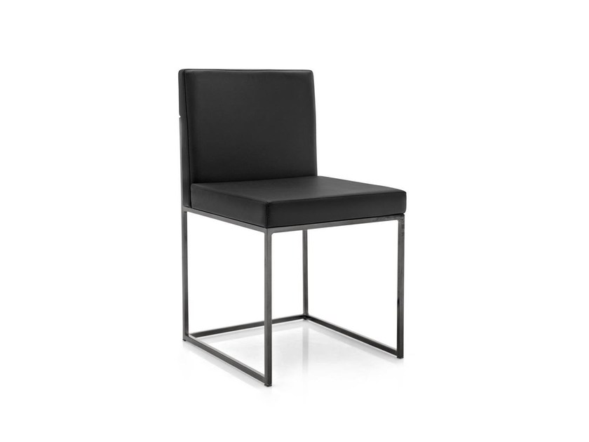 Upholstered leather chair EVEN PLUS | Leather chair - Calligaris