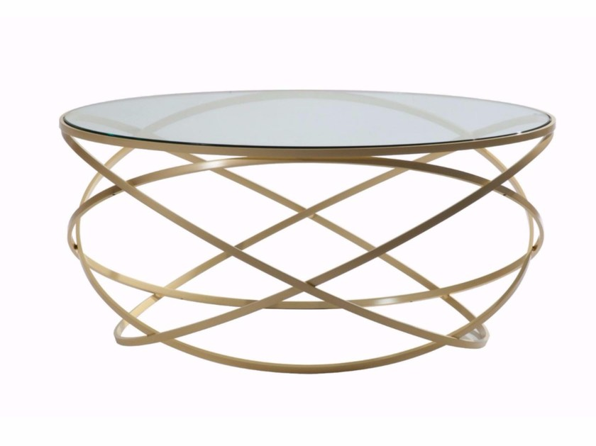Round glass and steel coffee table evol by roche bobois - Table basse roche bobois ...