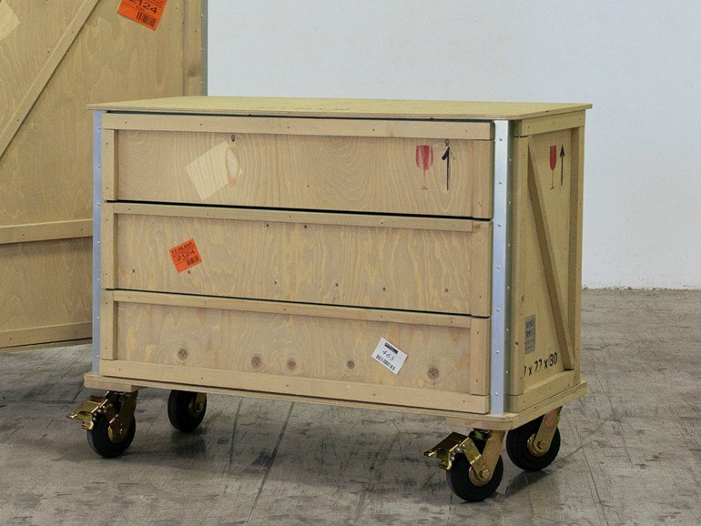 Wooden chest of drawers with casters EXPORT COMÒ | Chest of drawers with casters - Seletti