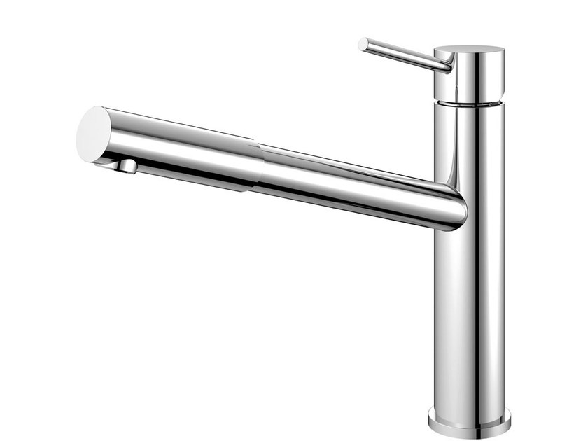 Countertop stainless steel kitchen mixer tap with pull out spray EXTENDED EX-110 - Nivito