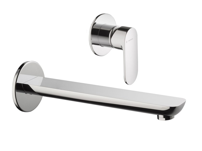 Wall-mounted chrome-plated washbasin mixer without waste EXTRO | Wall-mounted washbasin mixer - NEWFORM