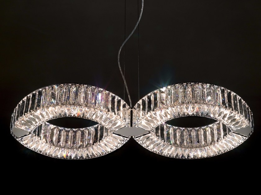 Halogen crystal pendant lamp EYRIS DUO by Swarovski