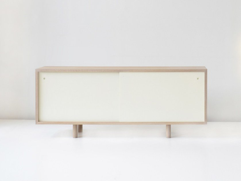 Lacquered solid wood sideboard with sliding doors FAIRBANKS by hollis+morris