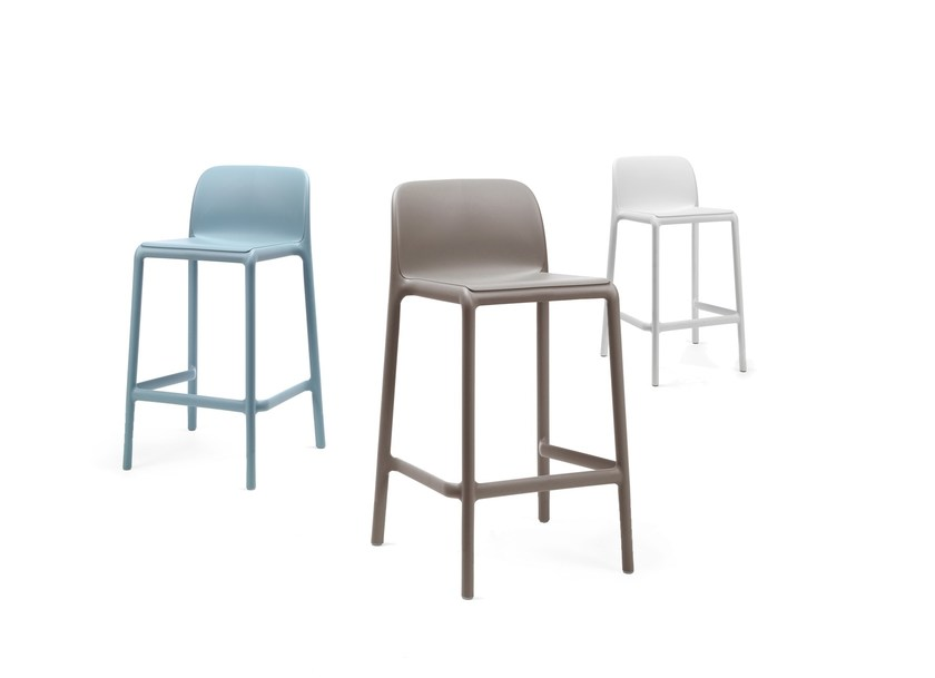 Stackable glass-fibre barstool with footrest FARO MINI by Nardi