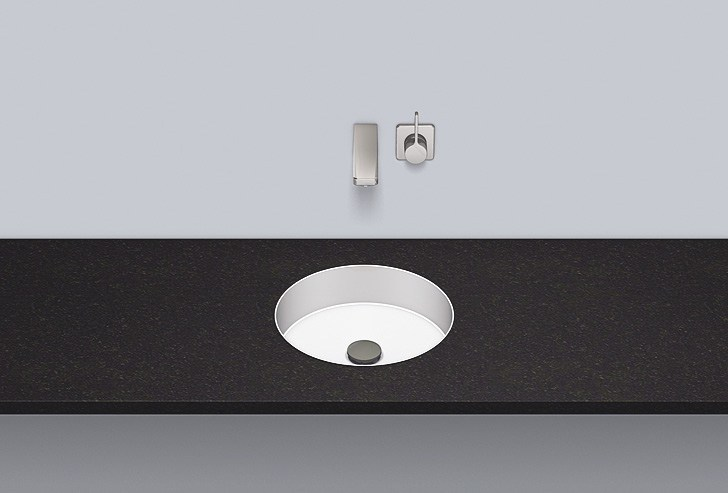 Flush built-in basin from glazed steel FB.KE325 by Alape