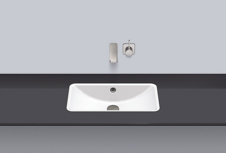 Flush built-in basin from glazed steel FB.R585.2 - ALAPE