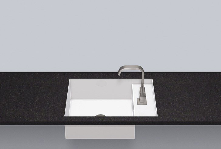Flush built-in basin from glazed steel FB.ST525H.R by Alape