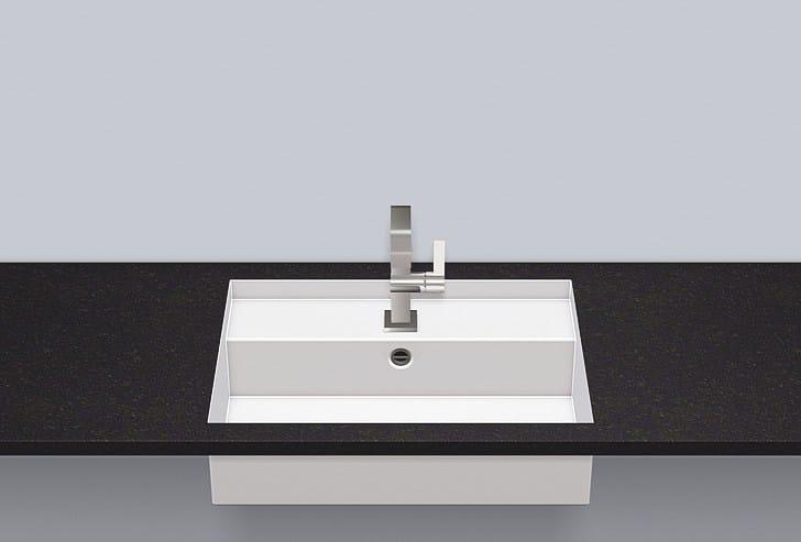Flush built-in basin from glazed steel FB.ST600H - ALAPE