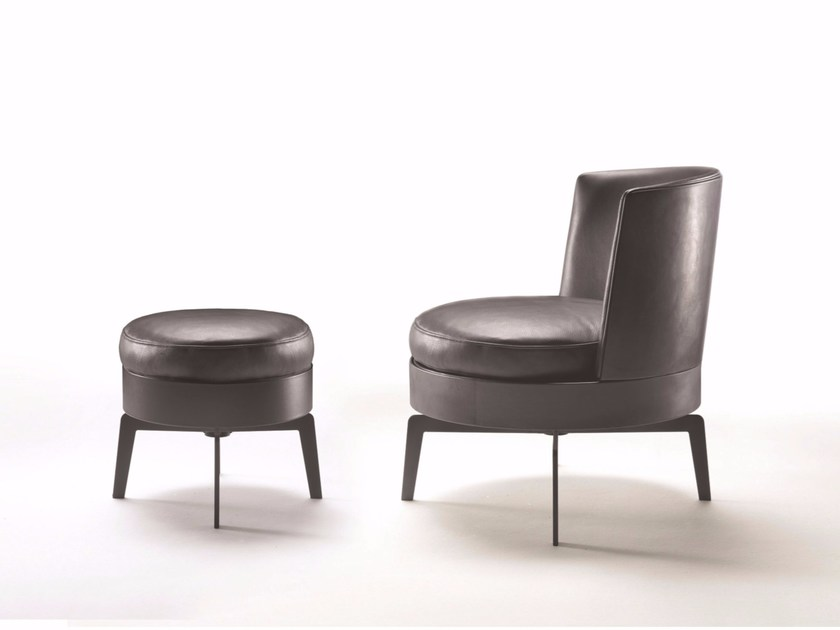 Upholstered leather easy chair FEEL GOOD | Leather easy chair - FLEXFORM