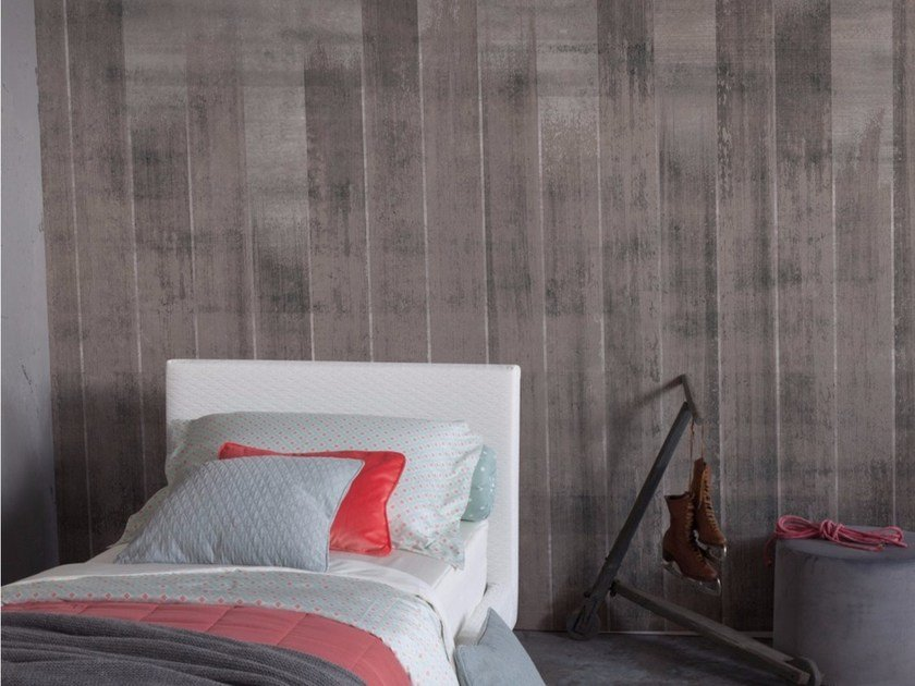 Panoramic wallpaper with concrete effect FENZ - Inkiostro Bianco