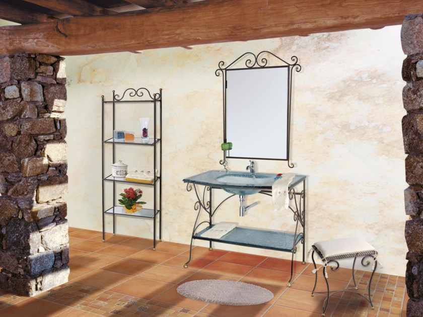 Wrought iron vanity unit with mirror FERRO BATTUTO CM01FB - LA BUSSOLA