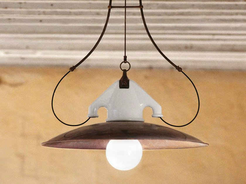 Direct-indirect light brass pendant lamp FERROVIA - Aldo Bernardi