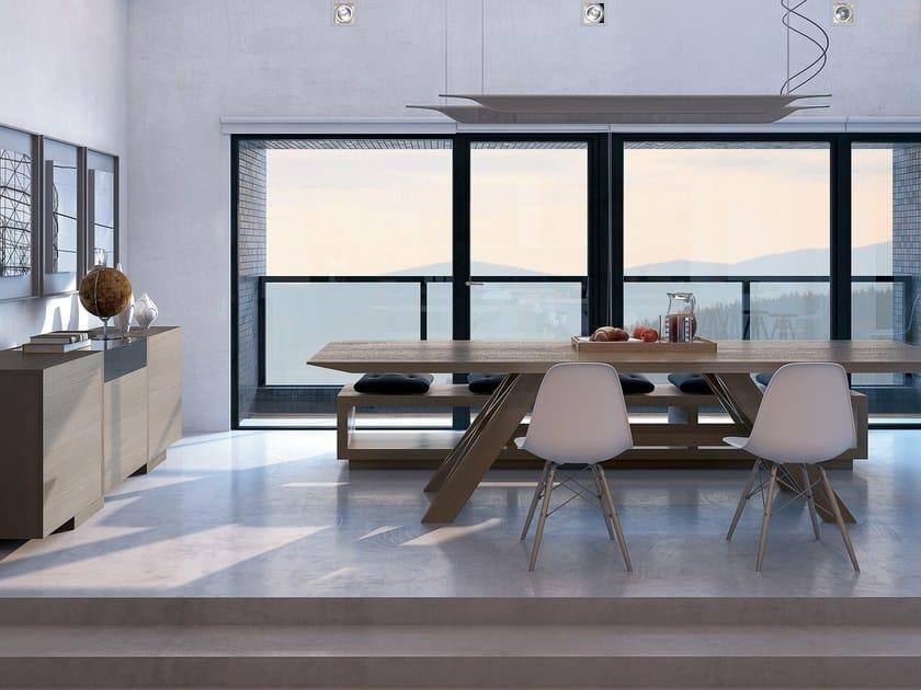 Cucina in legno impiallacciato con isola fiamma gd for Arredamenti montebelluna