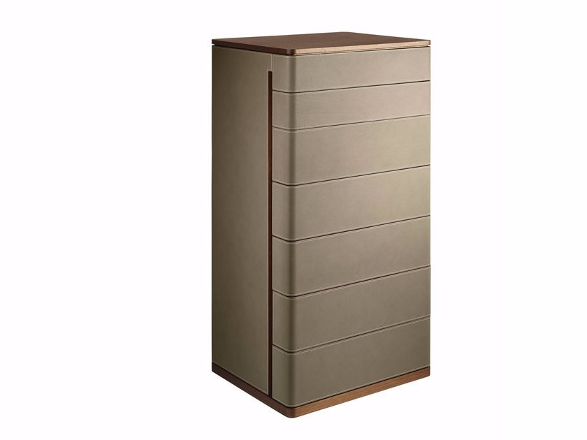 Tanned leather chest of drawers FIDELIO | Chest of drawers by Poltrona Frau
