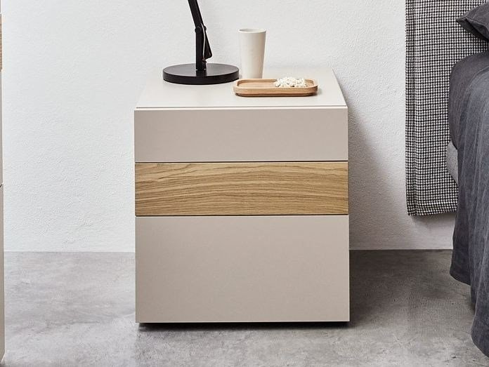 Lacquered rectangular bedside table with drawers FILL | Bedside table - Caccaro