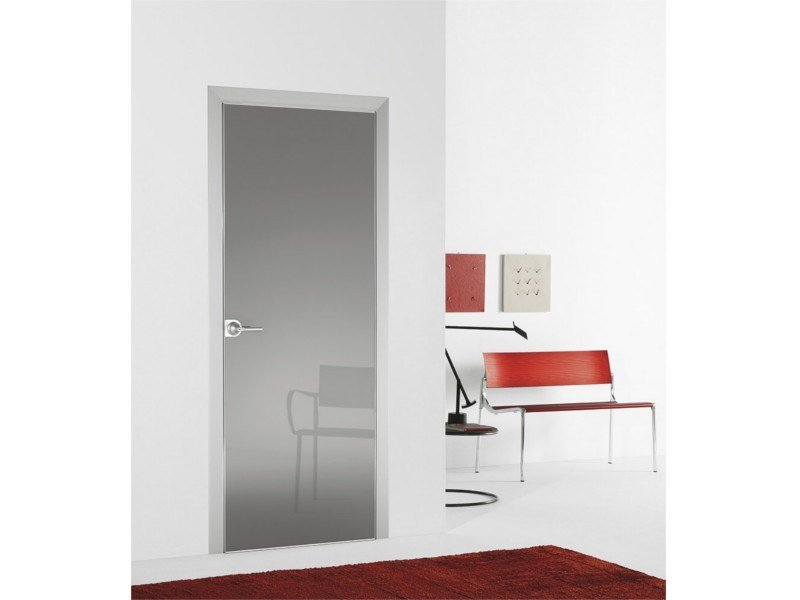Hinged flush-fitting door FILO A FILO - POLISHED GLASS - PORTEK by LEGNOFORM