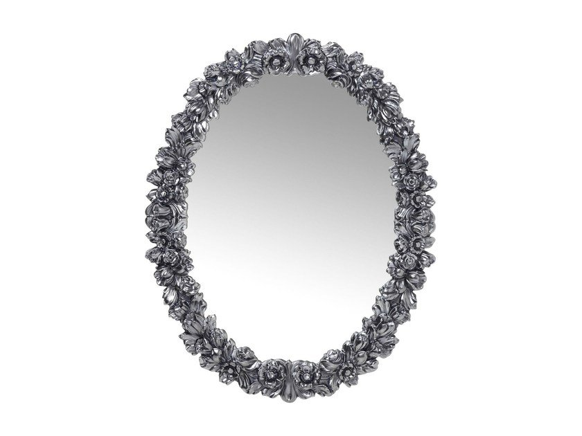 Oval wall-mounted framed mirror FIORELLINO CHROME - KARE-DESIGN