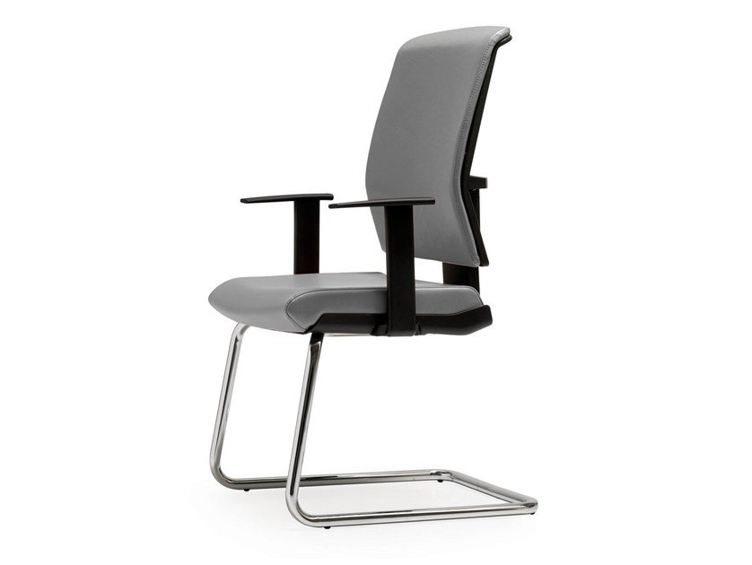 Cantilever leather reception chair with armrests FIVE | Chair with armrests - Quinti Sedute