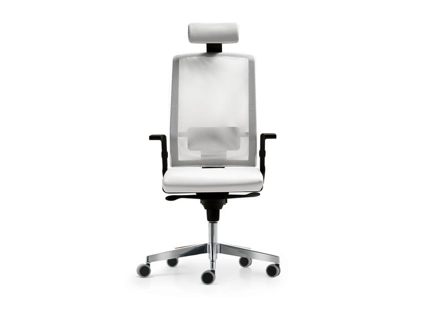 Height-adjustable mesh task chair with 5-Spoke base with armrests FIVE | Task chair with 5-Spoke base - Quinti Sedute