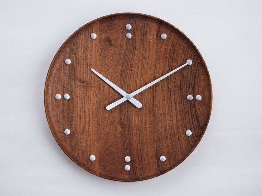 Orologio in teak da parete FJ CLOCK - Architectmade