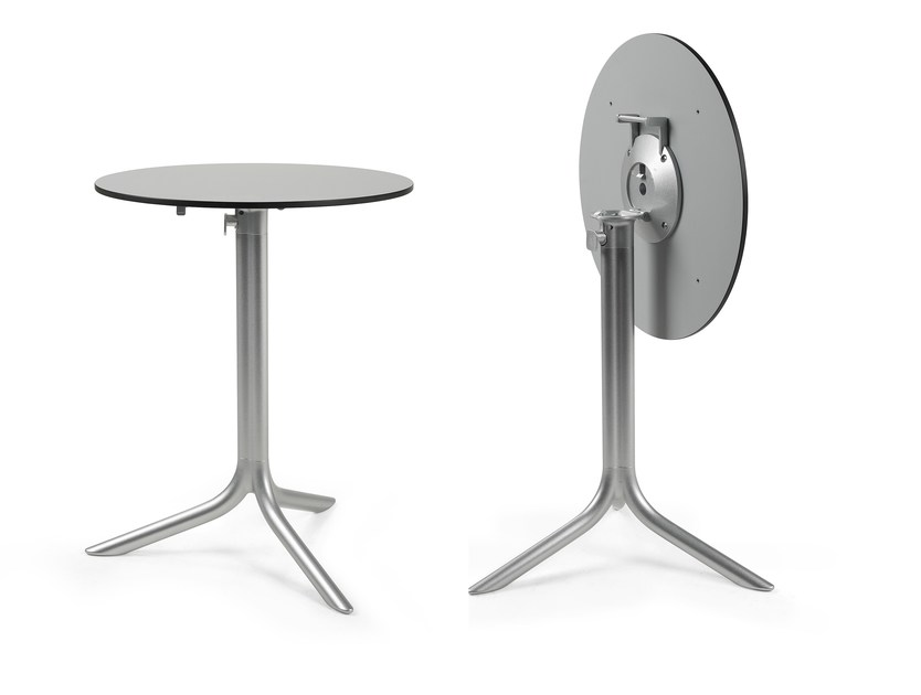 Contemporary style drop-leaf round aluminium contract table FLÛTE - Nardi