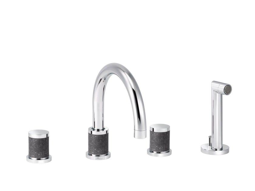 4 hole bathtub set with hand shower FLAMANT DOCKS | 4 hole bathtub tap - rvb