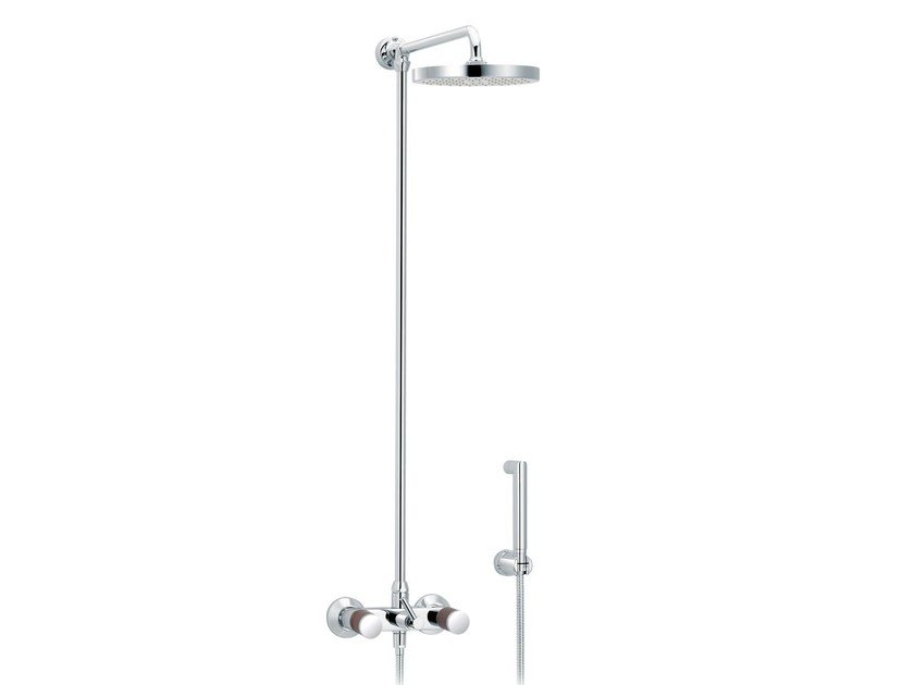Wall-mounted shower panel with hand shower with overhead shower FLAMANT DOCKS | Wall-mounted shower panel - rvb