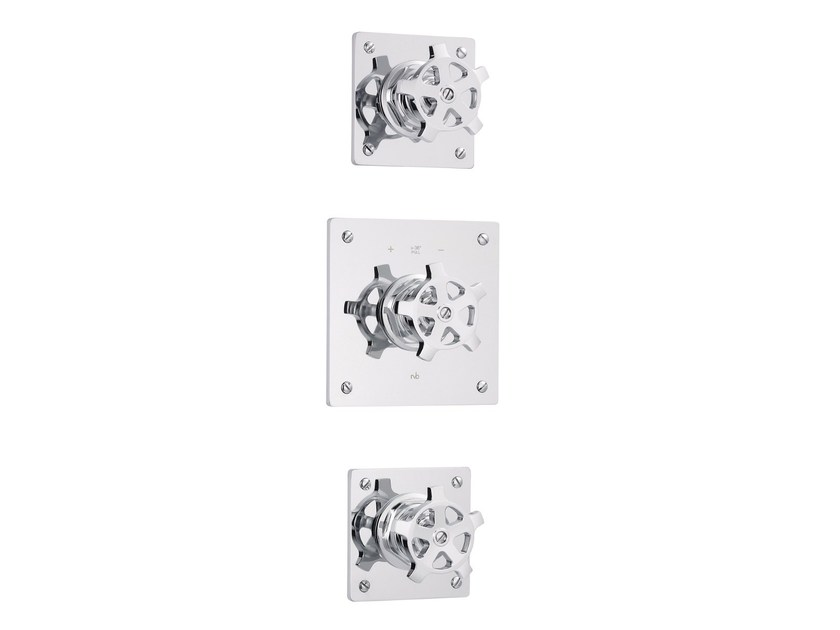 3 hole thermostatic shower mixer with individual rosettes FLAMANT FACTORY | 3 hole thermostatic shower mixer - rvb