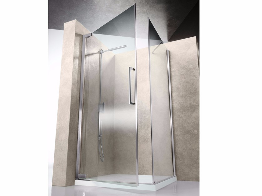 Corner shower cabin with hinged door FLARE FA+FF - VISMARAVETRO