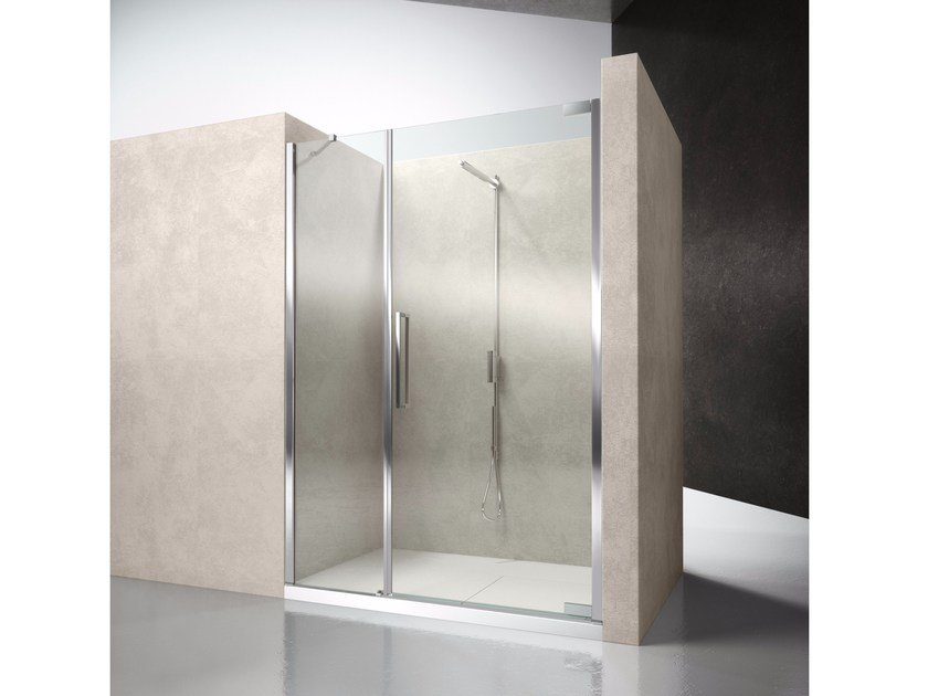 Niche glass shower cabin with hinged door FLARE F2 - VISMARAVETRO