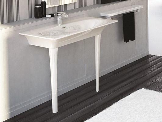 Rectangular ceramic washbasin FLAT | Console washbasin - Hidra Ceramica
