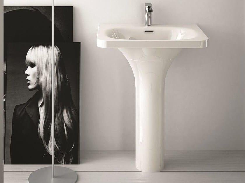 Rectangular ceramic washbasin FLAT | Pedestal washbasin by Hidra Ceramica