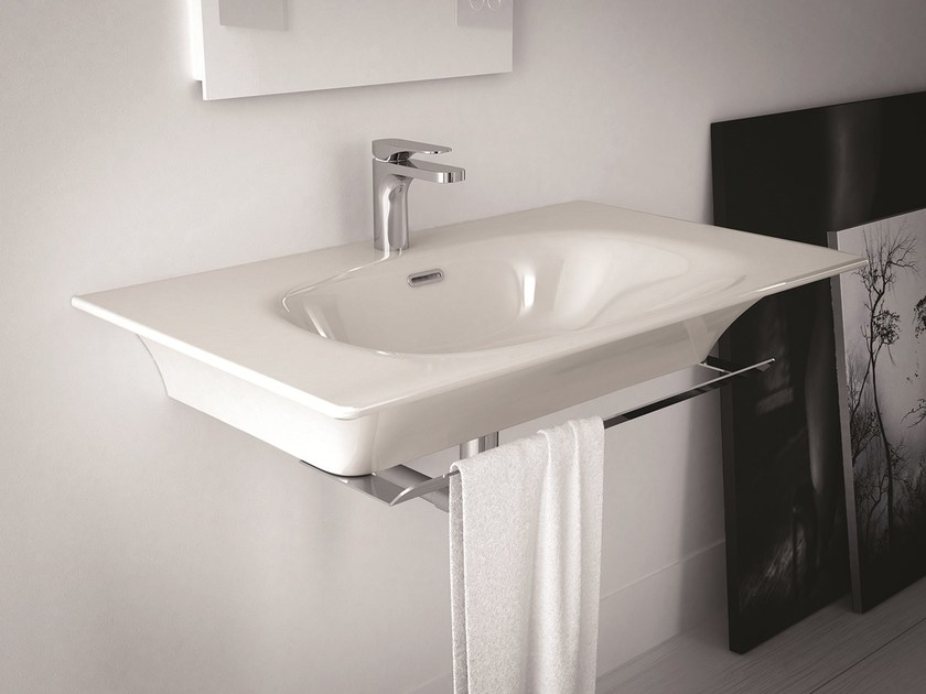 Rectangular ceramic washbasin FLAT | Wall-mounted washbasin - Hidra Ceramica