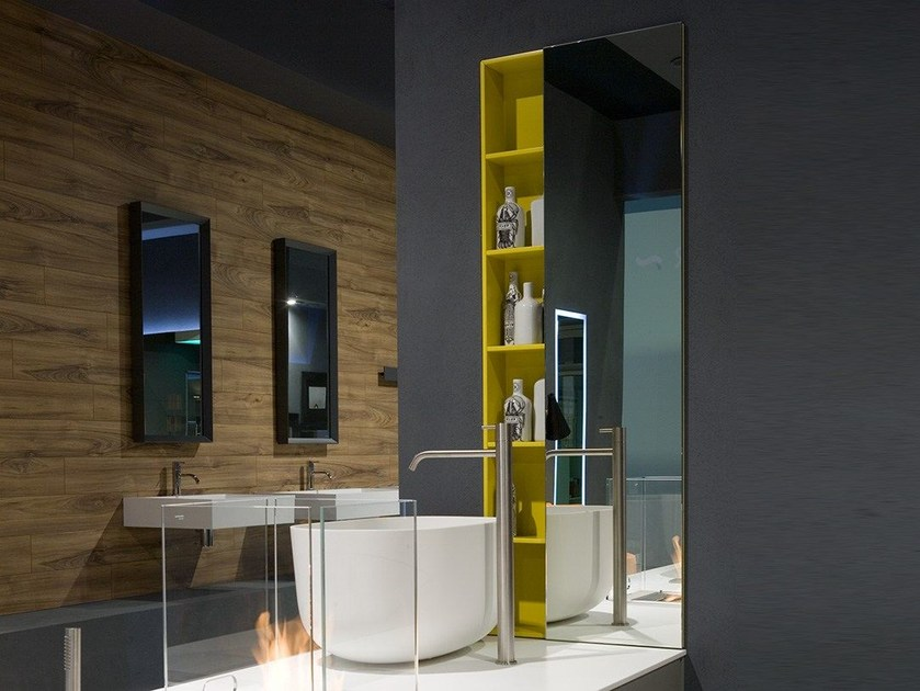 Design storage wooden wall cabinet with doors with mirror FLESSO - Antonio Lupi Design®