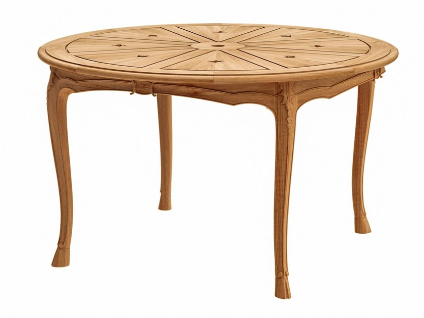 Round teak garden table FLEUR DE LYS | Round table - ASTELLO