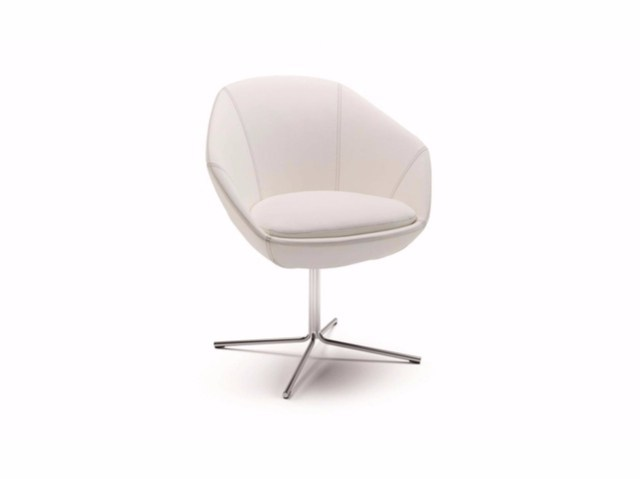 Fabric easy chair with 4-spoke base with armrests FLEUR | Easy chair with armrests by Cizeta