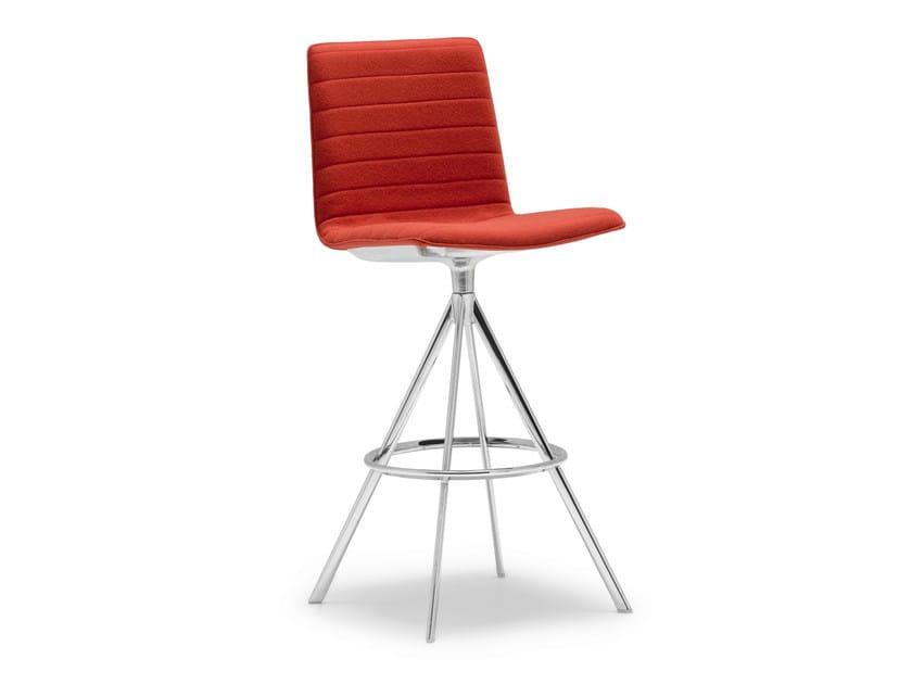Upholstered trestle-based counter stool FLEX | Upholstered chair - Andreu World