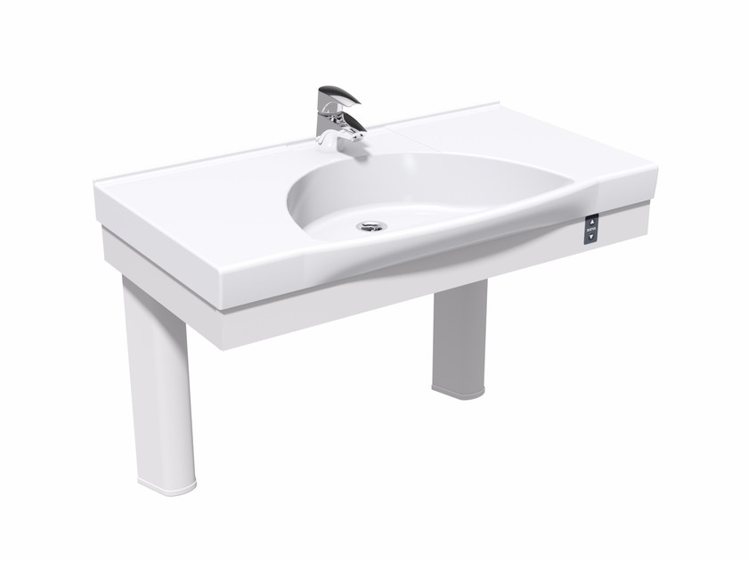 Height-adjustable washbasin for disabled with electric motion FLEXI ELECTRIC by Ropox