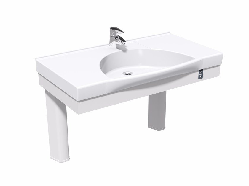 Height-adjustable washbasin for disabled FLEXI MANUAL by Ropox