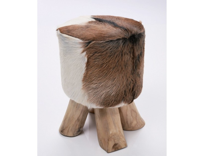 Low upholstered leather stool FLINT STONE | Stool - KARE-DESIGN