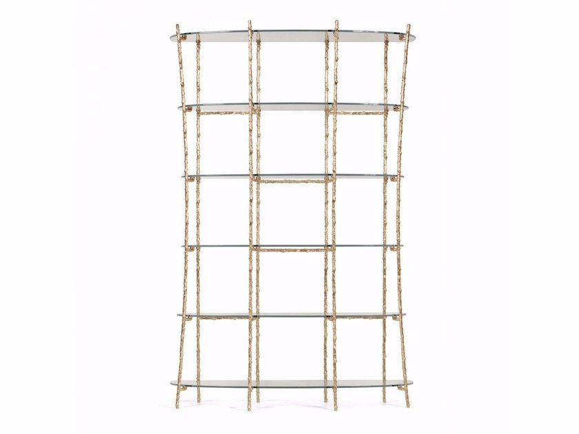 Brass and glass bookcase FLORA by Ginger & Jagger