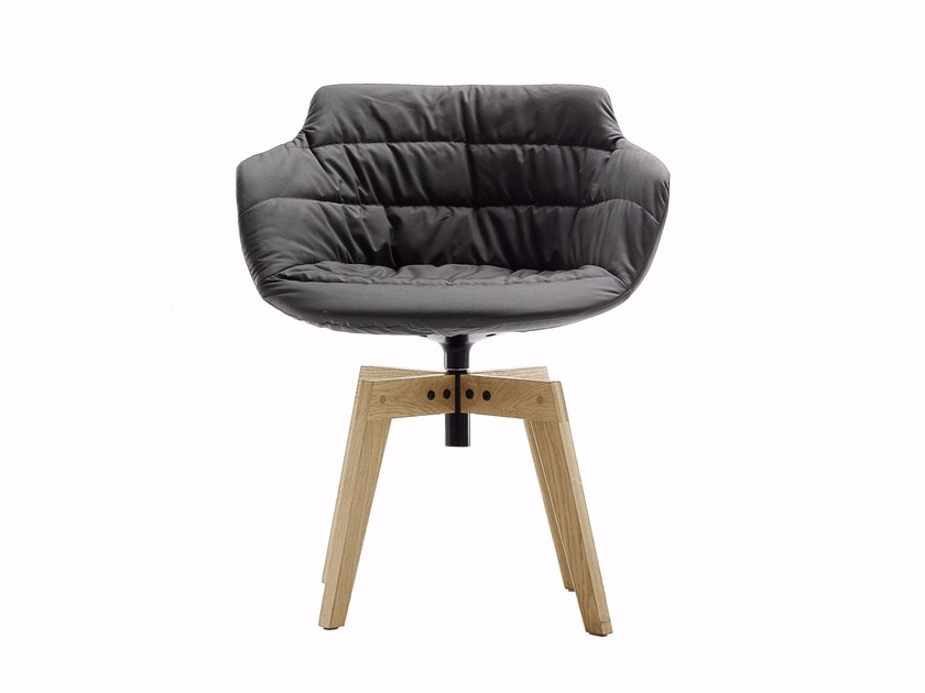 Upholstered trestle-based chair with armrests FLOW ARMCHAIR | Trestle-based chair - MDF Italia
