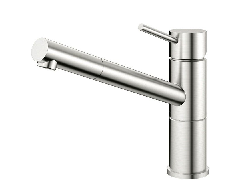 Brushed-finish stainless steel kitchen mixer tap FLOW FL-100 - Nivito